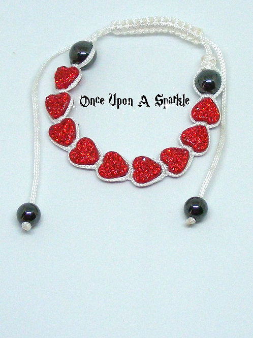 9 red crystal hearts on white cord shamballa bracelet