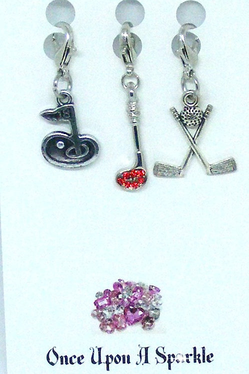 Zipper Pulls 18th hole red crystal club crossed clubs