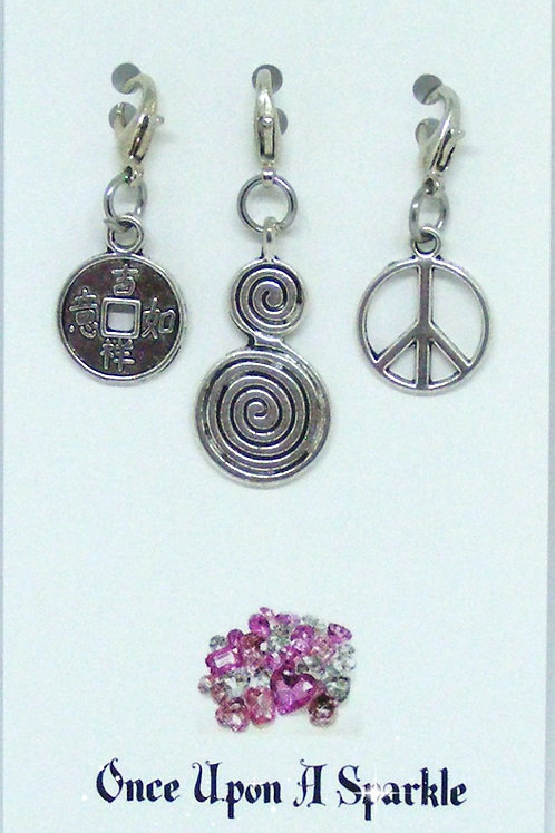 Chinese Coin, Double Swirl, Peace sign zipper pulls