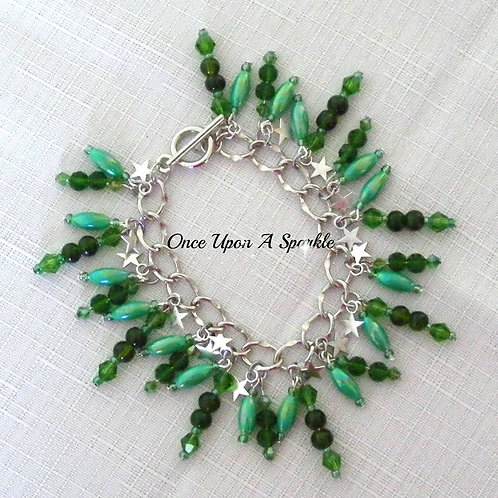 green rice beads sparkly green beads silver stars