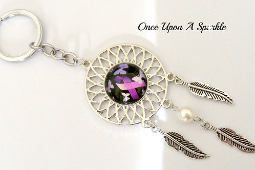 fibromyalgia awareness dreamcather with feathers