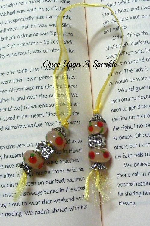 yellow organza ribbon bookmark with owls