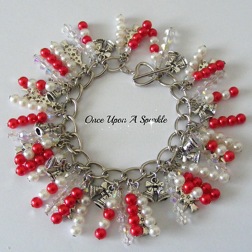 Christmas bells & trees with red & white pearl beads