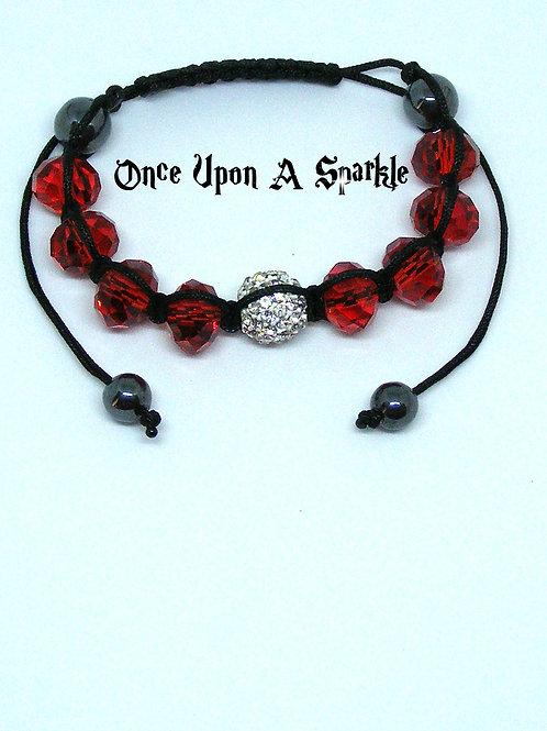 Red Glass Shamballa Bracelet
