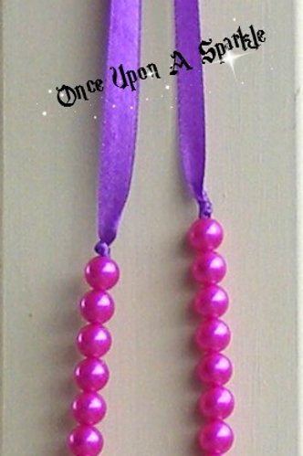 Necklace - Purple Ribbon with 2 shades Pink