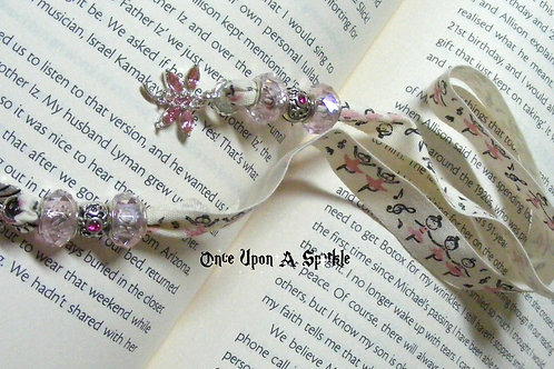 cream canvas ribbon with pink ballerinas & pink dragonfly