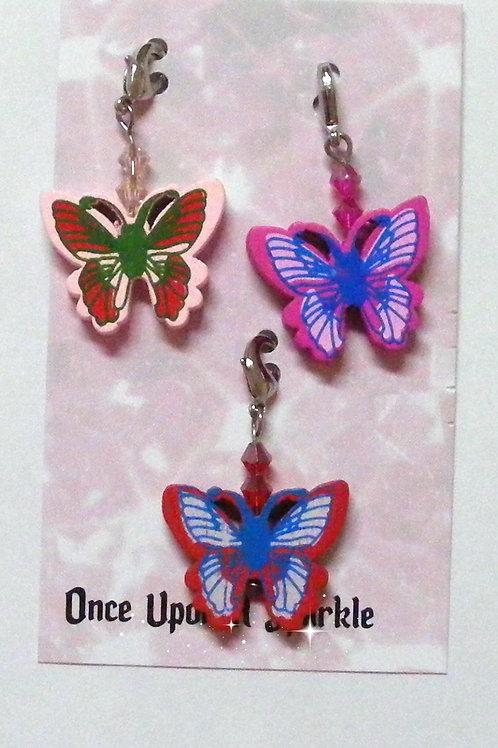 Zipper Pulls - 3 Butterflies pink hot pink red