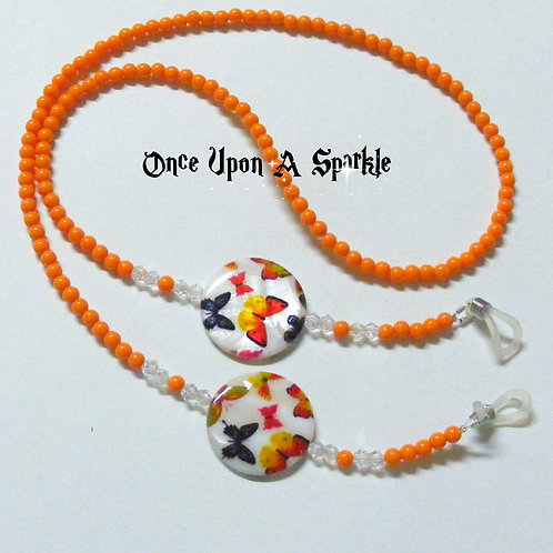 Glasses Holder - Orange Butterfly