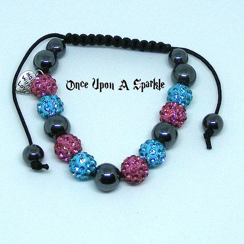Aqua & Pink Bracelet with Hematite Beads