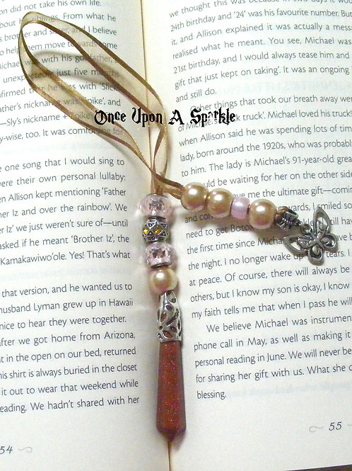 brown organza ribbon bookmark with brown gem column