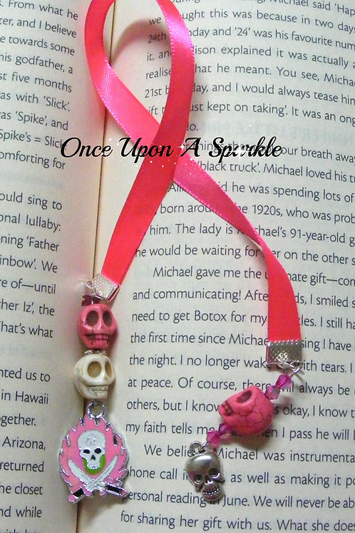 fluro pink ribbon bookmark with pink skulls