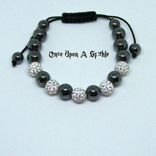 Black Hematite & Clear CZ Disco Ball Shamballa Bracelet