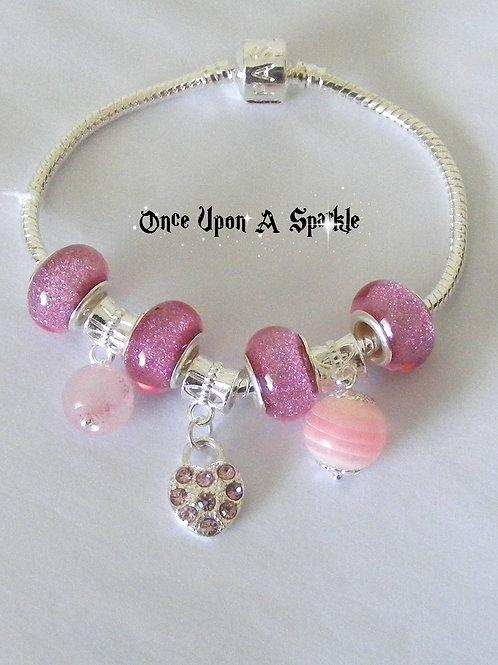 Bracelet - Pink Snake crystal heart padlock