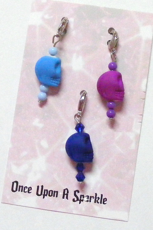 Zipper Pulls - Fluro Skulls pale blue purple dark blue