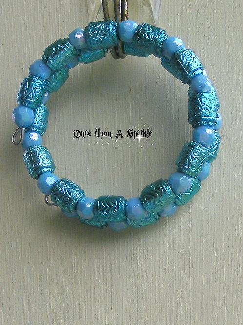 Wrap Bracelet - Blue & Aqua Barrels