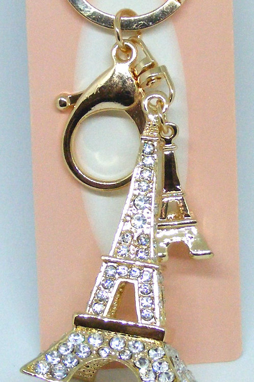Sparkly Eiffel Tower Gold Plated Key Ring