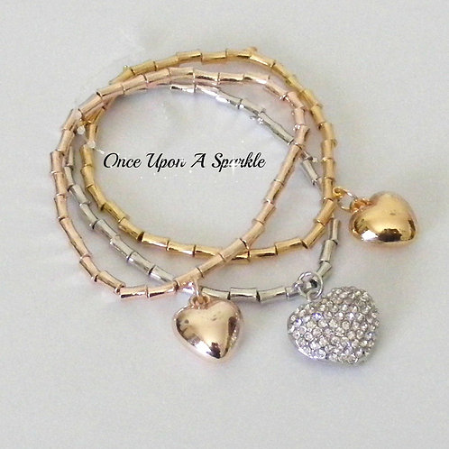 Bracelet - Stretch Triple Tube Hearts