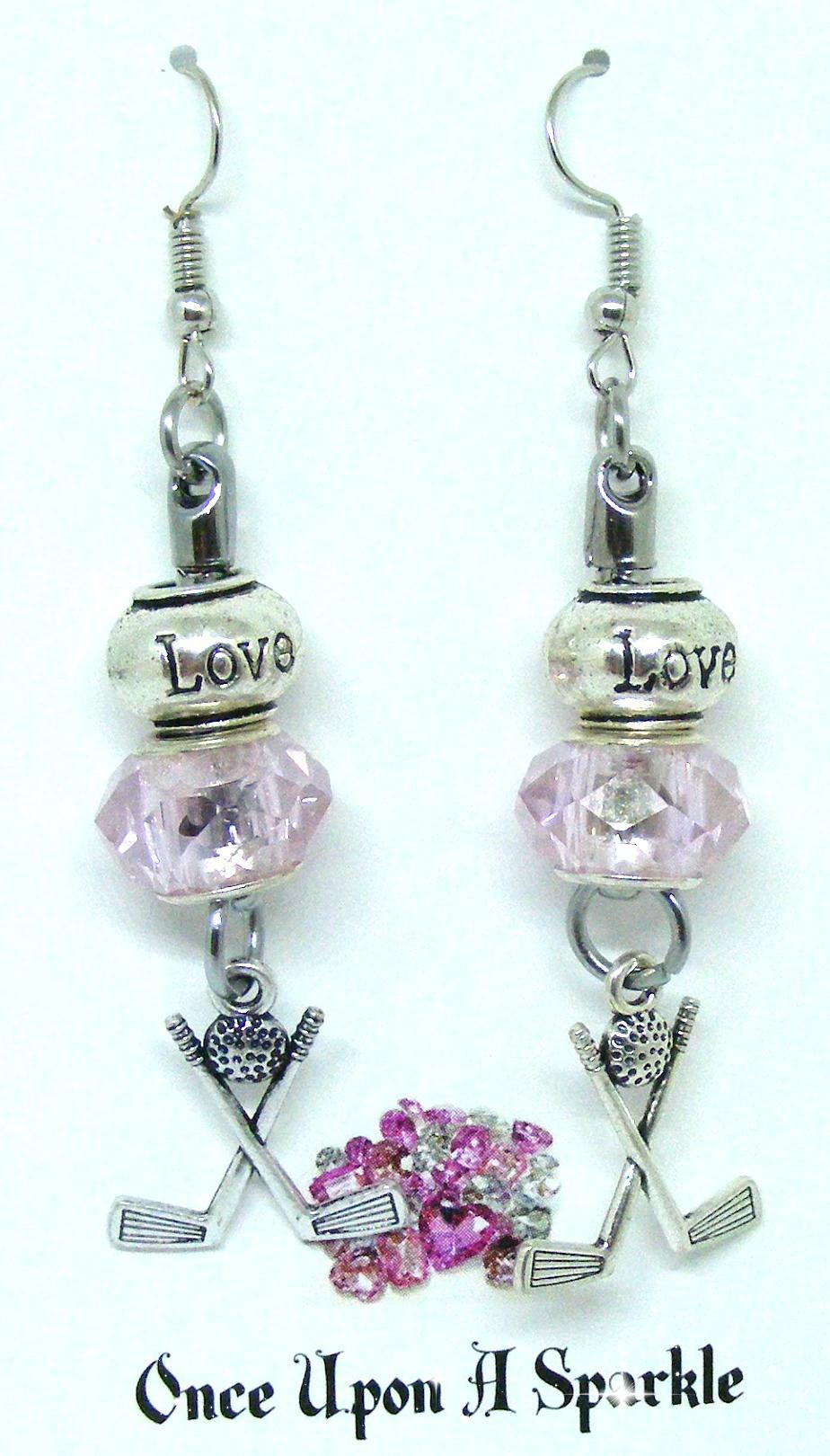 Earrings crossed club love pink bead