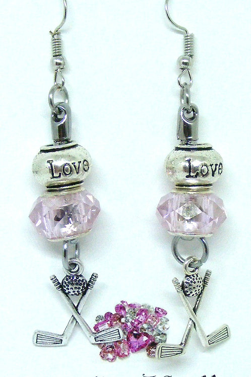 Crossed golf club earrings with love and sparkly pink bead