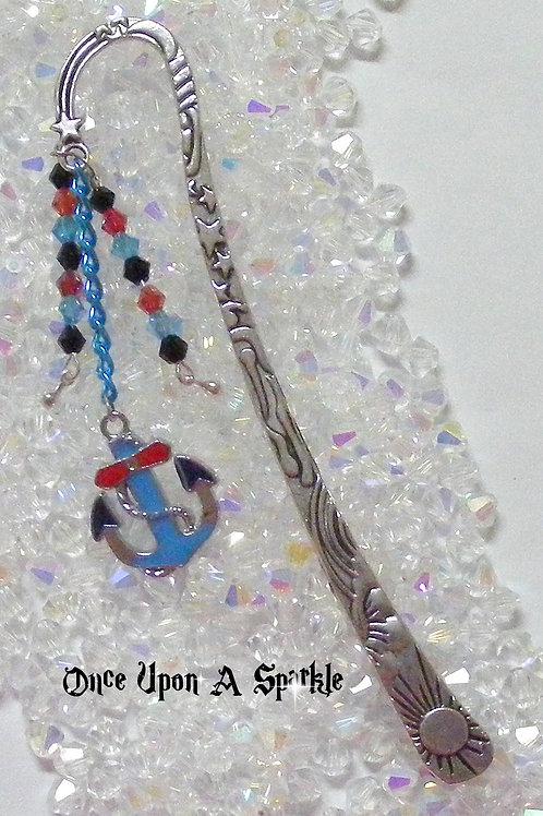 antique silver bookmark blue anchor