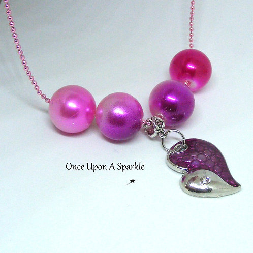 Pink/Purple Neon Ball Chain Pink with charm