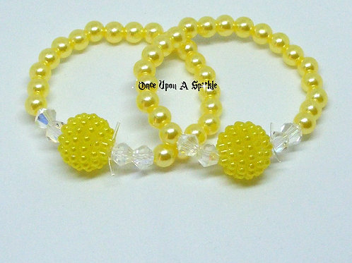"Stretch ""Buddy"" Bracelets Yellow Pearl & Bubble"