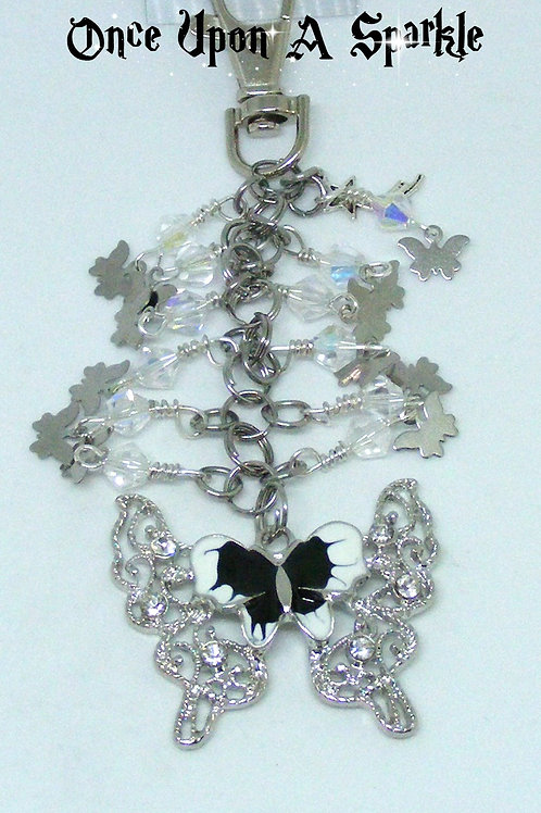 Black & White enamel Butterfly with Rhinestones
