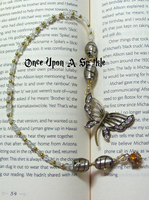 beaded bookmark bronze butterfly