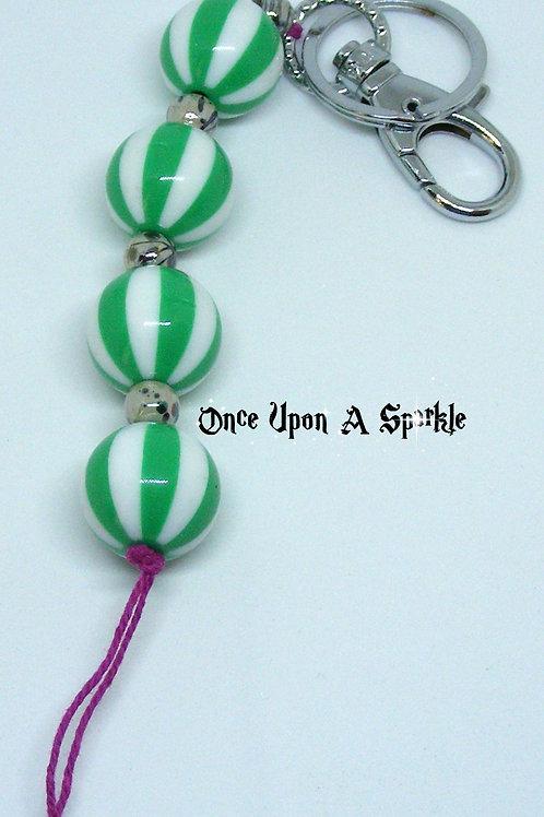 Green Striped Beads Bag Dangle