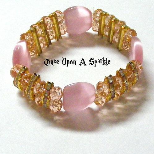 Bracelet Stretch - Pink Cats Eye