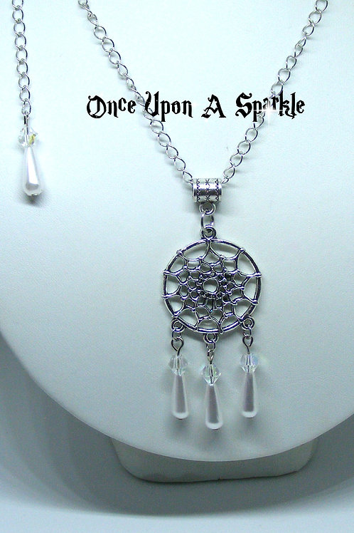 Dreamcatcher necklace white teardrops