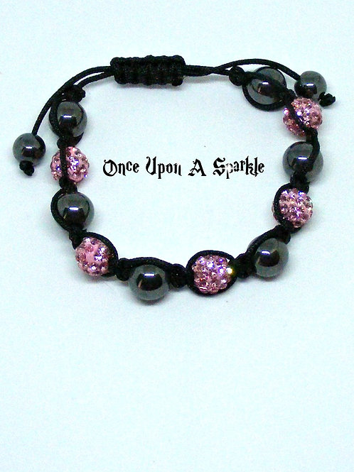 Hematite & pink crystal disco ball beads bracelet