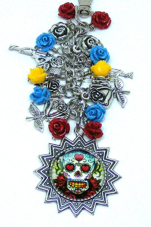 Guns and colourful Roses Bag Dangle