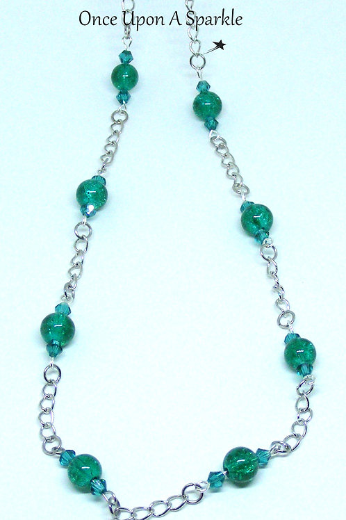 Green Crackle & Chain Long Necklace