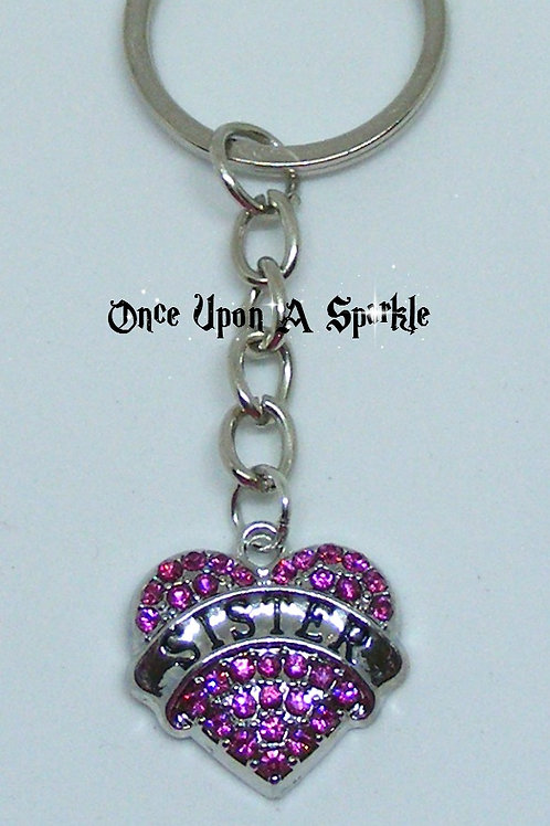 Key Ring Sister Pink Crystal Heart