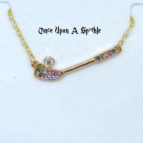 Gold plated chain with golf club and crystals
