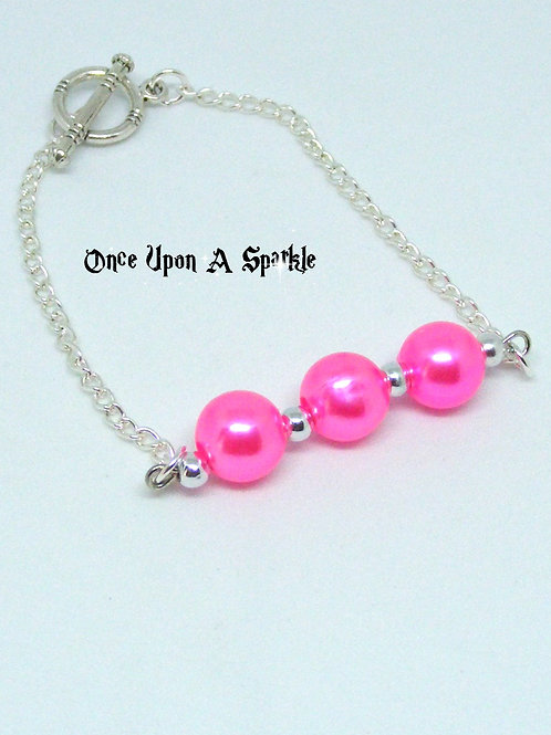 Silver Plated Chain Bracelet with Pink Acrylic Beads