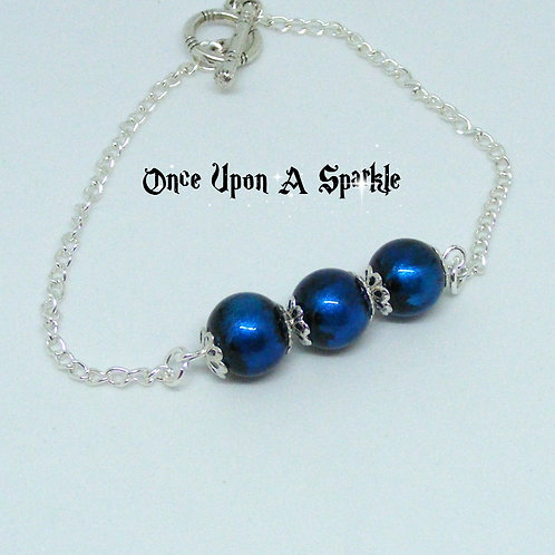 Silver Plated Chain Bracelet with Midnight Blue glass beads