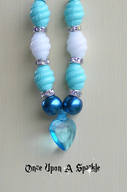 Necklace - Ribbon with Mint Green & White Barrels