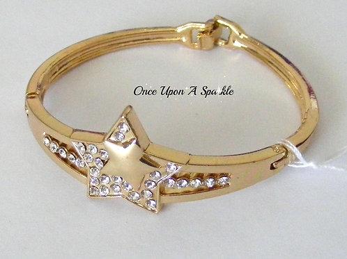 Bracelet - Gold Bangle Star & Crystals