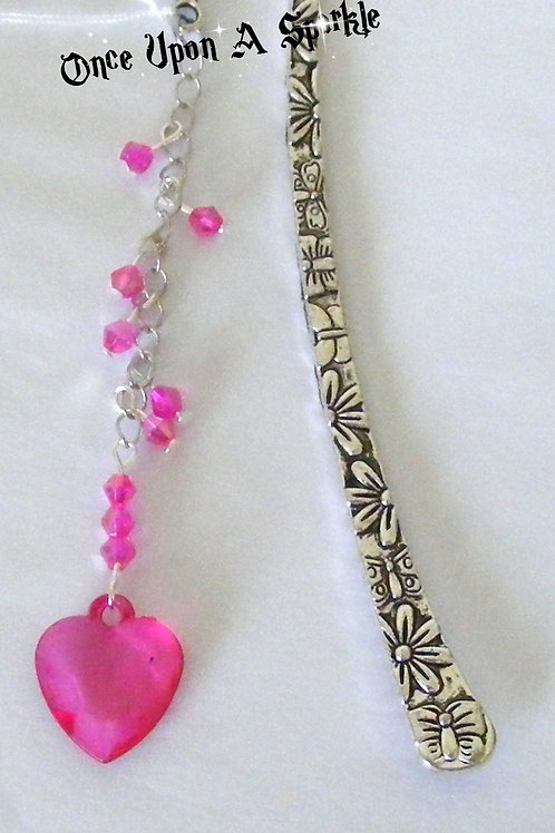Antique silver bookmark with hot pink heart