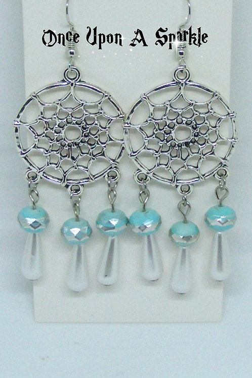 Dreamcatcher Earrings with White Imitation Pearl Teardrops