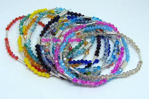Bicone beads & twisted silver tube stretch bracelet