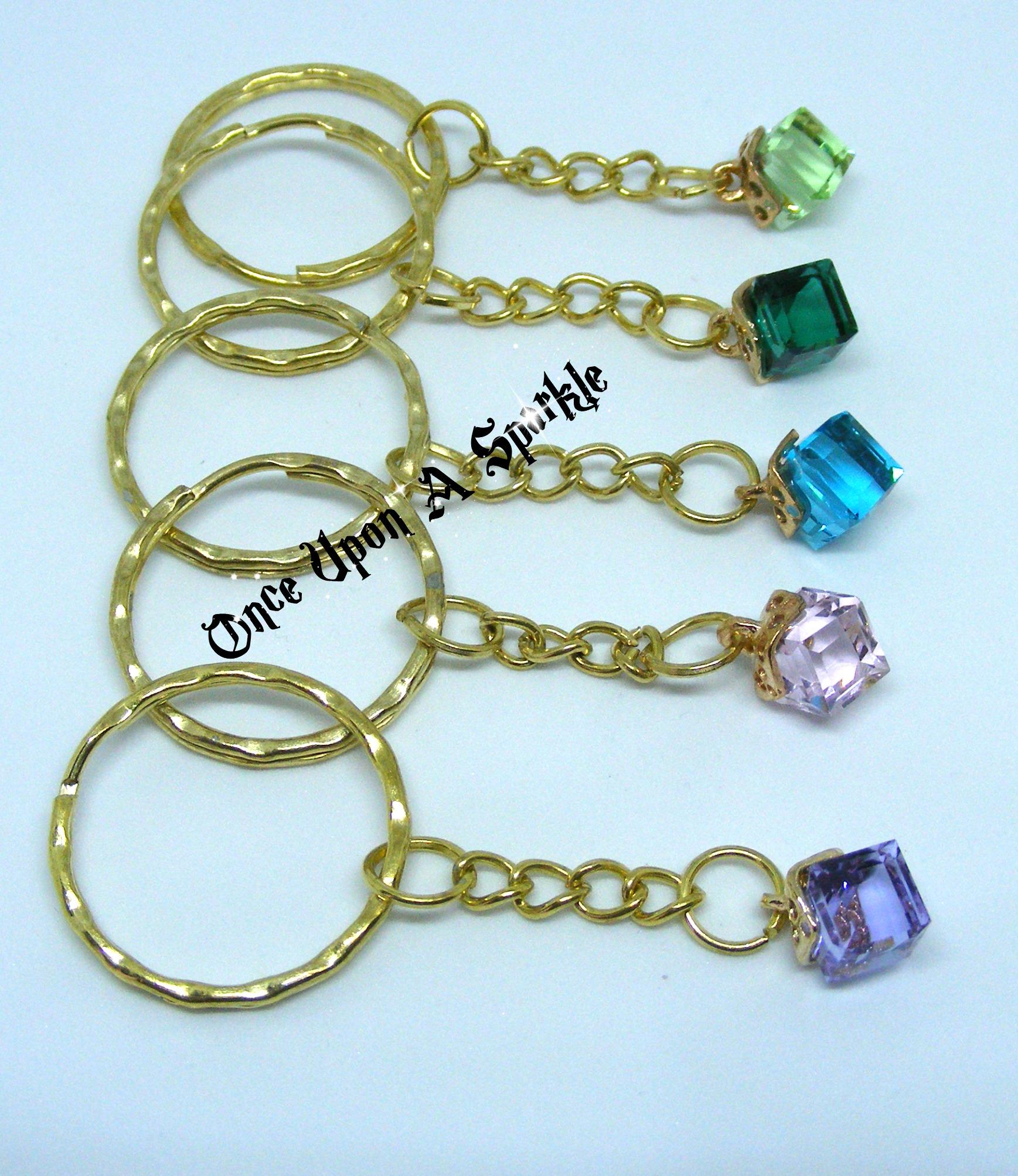 Key rings glass cubes