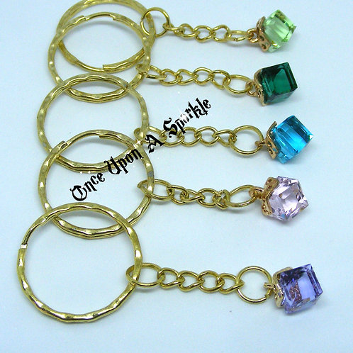 Gold Key Ring with Glass Cubes - Choice of colours