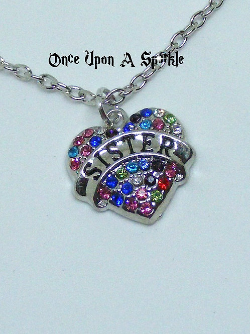 Sister heart multi-coloured crystals necklace