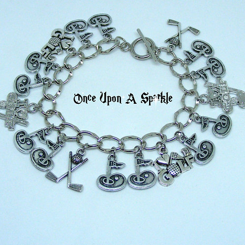 Golfing Charm Bracelet in stainless steel, antique silver and rhodium