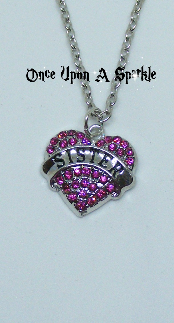 Necklace Sister pink crystal heart