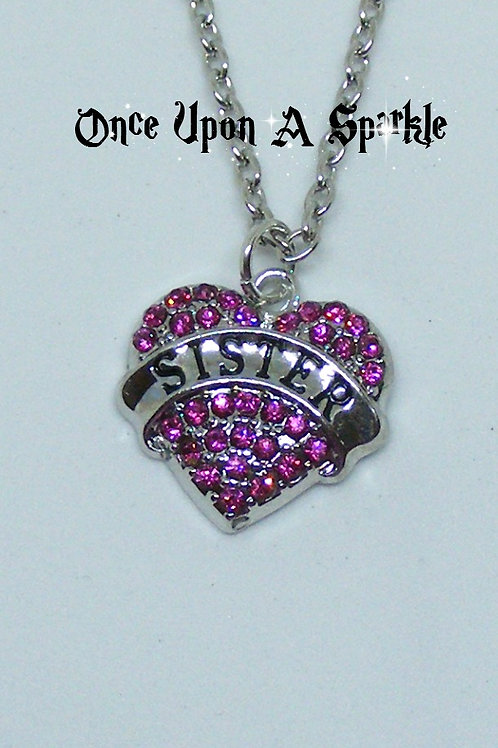 Sister heart pink crystal necklace