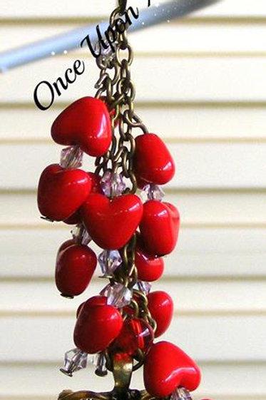 Bag Dangle - red hearts